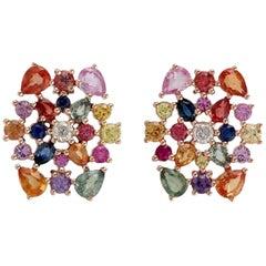 Multi Sapphire 18 Karat Gold Diamond Stud Earrings