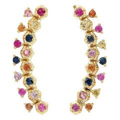 Multi Sapphire 18 Karat Gold Ear Climbers