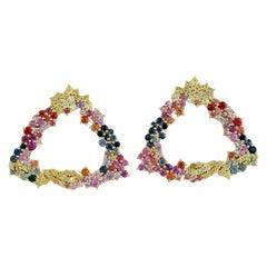 Multi Sapphire 18 Karat Gold Earrings