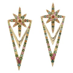 Multi Sapphire 18 Karat Gold North Star Earrings
