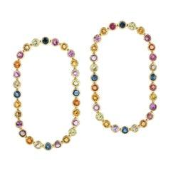 Multi Sapphire 18 Karat Gold Rainbow Stud Earrings