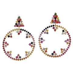 Multi Sapphire 18 Karat Gold Sphere Earrings