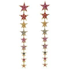 Multi Sapphire 18 Karat Gold Star Drop Earrings