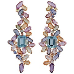 Multi Sapphire and Aquamarine Earrings Studded in 18 Karat Rose Gold