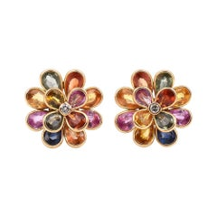 Multi-Sapphire Colorful Floral Earrings with a Center Diamond, 18k Yellow Gold