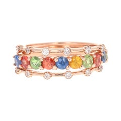 2.09 Carat Multi Sapphire Diamond 14 Karat Rose Gold Stackable Bands