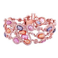 Multi Sapphire Diamond 18 Karat Gold Bangle Bracelet