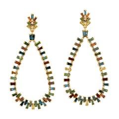 Multi Sapphire Diamond 18 Karat Gold Earrings