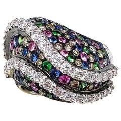 Multi Sapphire Diamond 18 Karat Gold Ring