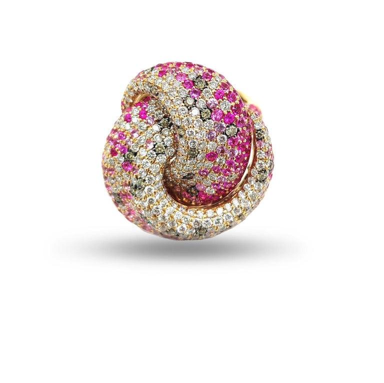 Contemporary Multi Sapphire Diamond 18 Karat Rose Gold Tutti Frutti Ring For Sale