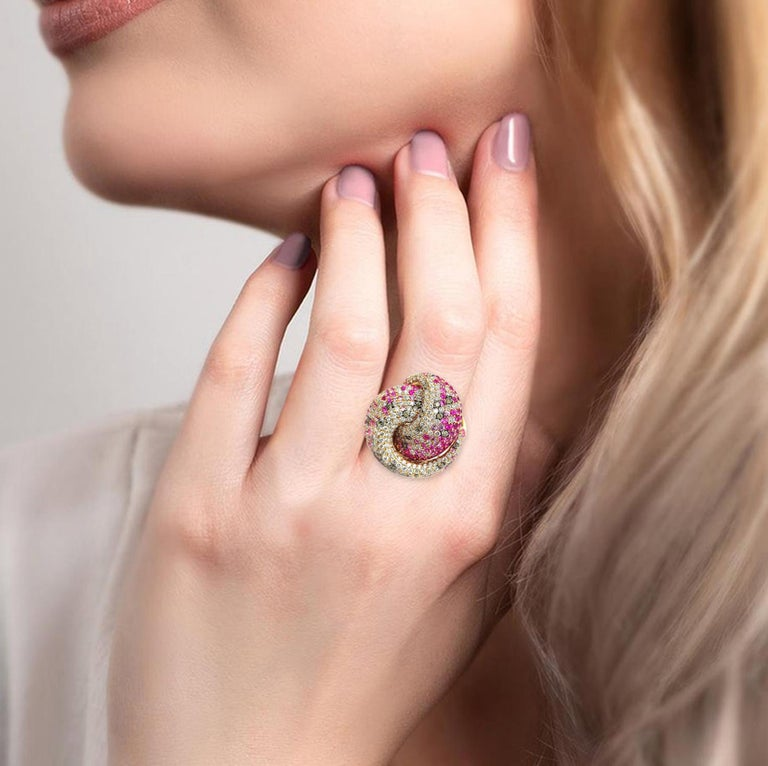 Mixed Cut Multi Sapphire Diamond 18 Karat Rose Gold Tutti Frutti Ring For Sale