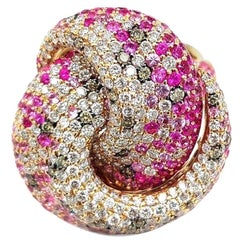 Multi Sapphire Diamond 18 Karat Rose Gold Tutti Frutti Ring