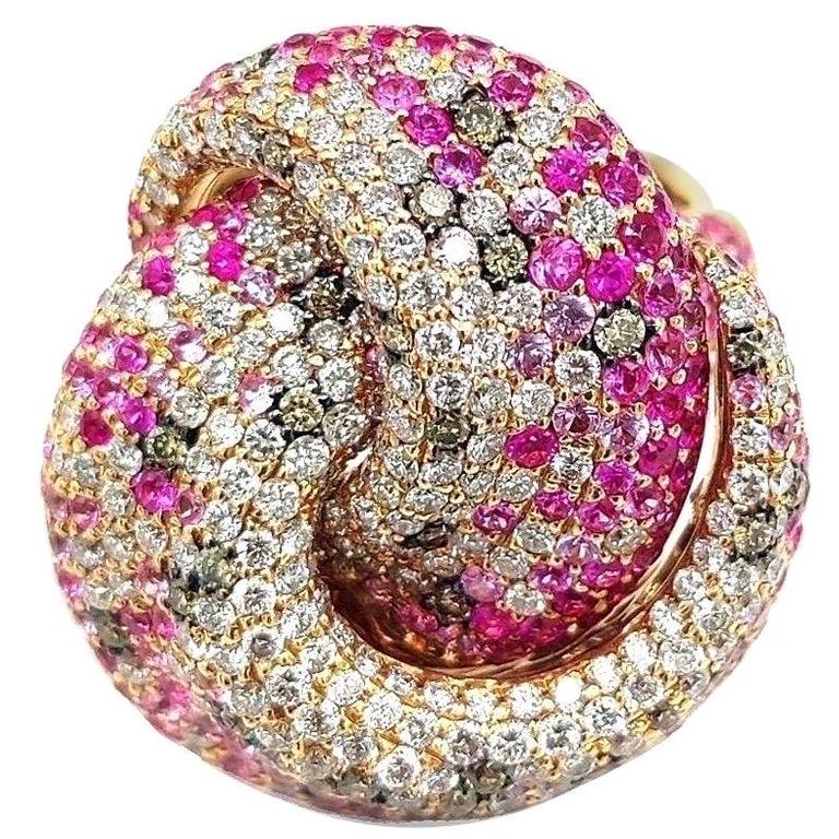Multi Sapphire Diamond 18 Karat Rose Gold Tutti Frutti Ring For Sale