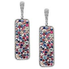 Multi Sapphire Diamond Earrings