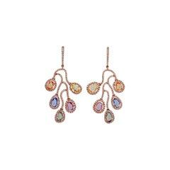 Multi Sapphire & Diamond Earrings Studded in 18k Gold