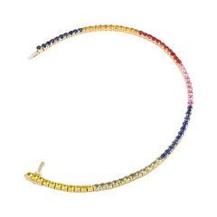 Multi Sapphire Fine Jewelry Diamond Yellow Gold Colourful Tennis Bracelet