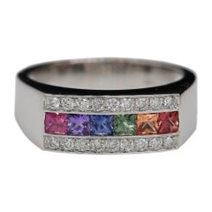 Multi Sapphire Ring 18 Karat Whte Gold Sapphire Band Multi Color Sapphire