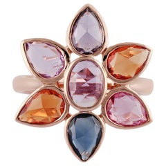 Multi Sapphire Ring Studded in 18 Karat Rose Gold