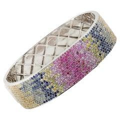 Multi Sapphire Square Bangle Bracelet