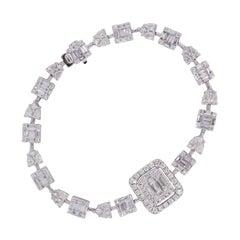 Multi Shape Diamond Halo Column Link Bracelet