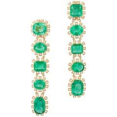 Multi-Shape Emerald Long Earrings with Diamonds