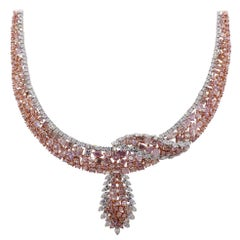 Multi Shape Pink and White Diamond Cluster Necklace