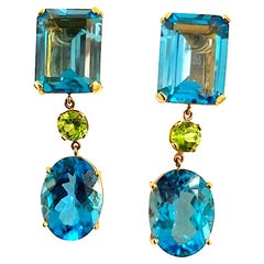 Multi-Shaped Blue Topaz and Peridot Long Earring