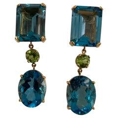 Multi-Shaped Blue Topaz and Peridot Long Earring