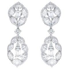 Multi Shaped Diamonds Fashion Chandelier Earrings