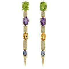 Multi Stone 18 Karat Gold Diamond Earrings
