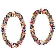 Multi Stone 18 Karat Gold Earrings