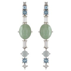 Multi-Stone 18 Karat Gold Earrings with Jadeites, Aquamarines and Diamonds