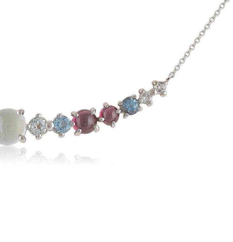 Contemporary Multi-Stone 18 Karat Gold Necklace with Aquamarines, Garnets and Diamonds For Sale