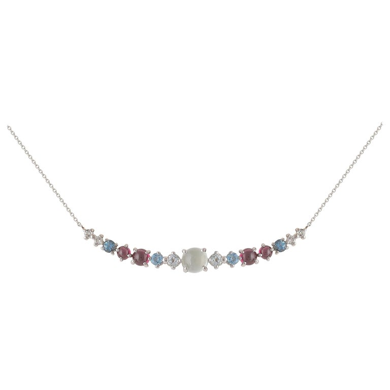 Multi-Stone 18 Karat Gold Necklace with Aquamarines, Garnets and Diamonds For Sale