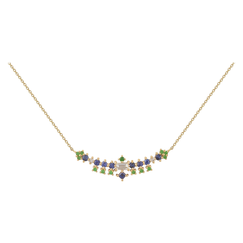 Multi-Stone 18 Karat Gold Necklace with Sapphires, Tsavorites, Diamonds
