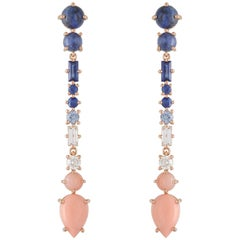 Multi-Stone 18 Karat Rose Gold Earrings with Sapphires, Diamonds, Corals