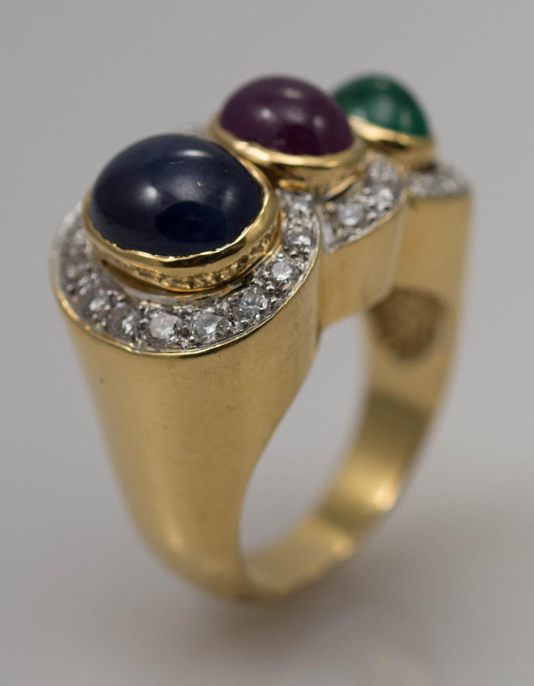 Round Cut Multi-Stone 18 Karat Yellow Gold Sapphire Ruby and Emerald with Diamonds Ring For Sale