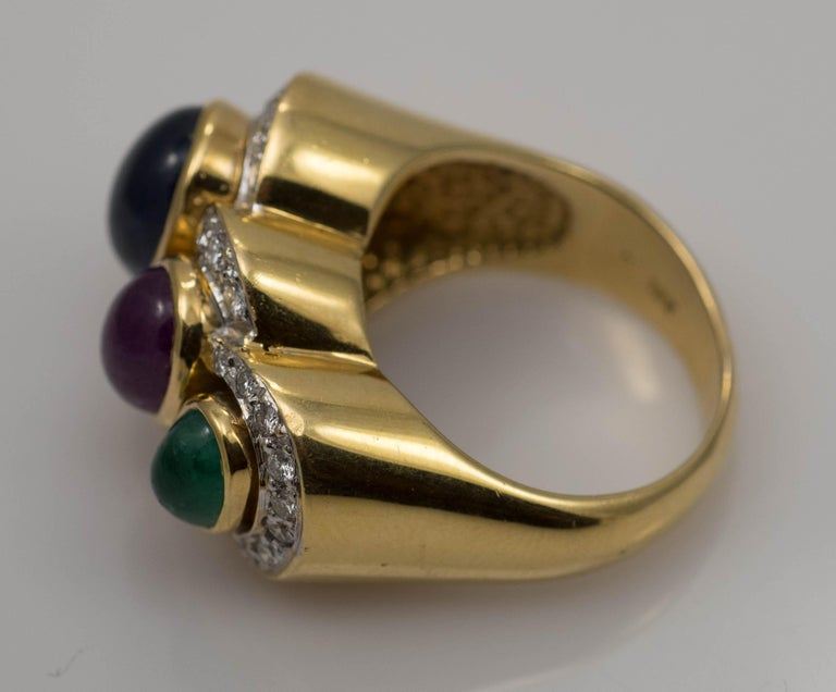 Multi-Stone 18 Karat Yellow Gold Sapphire Ruby and Emerald with Diamonds Ring For Sale 1