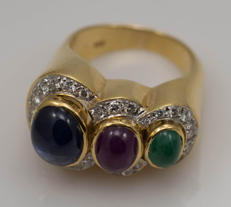 Multi-Stone 18 Karat Yellow Gold Sapphire Ruby and Emerald with Diamonds Ring For Sale 2