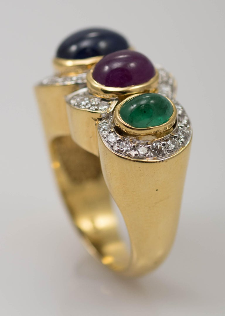 Multi-Stone 18 Karat Yellow Gold Sapphire Ruby and Emerald with Diamonds Ring For Sale 3