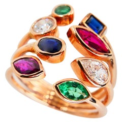 Multi Stone 18K Rose Gold Diamond, Emeralds, Sapphires and Rubies Cocktail Ring