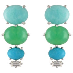 Multi-Stone Amazonite, Chrysophrase, Turquoise and Diamond 18Karat Gold Earrings