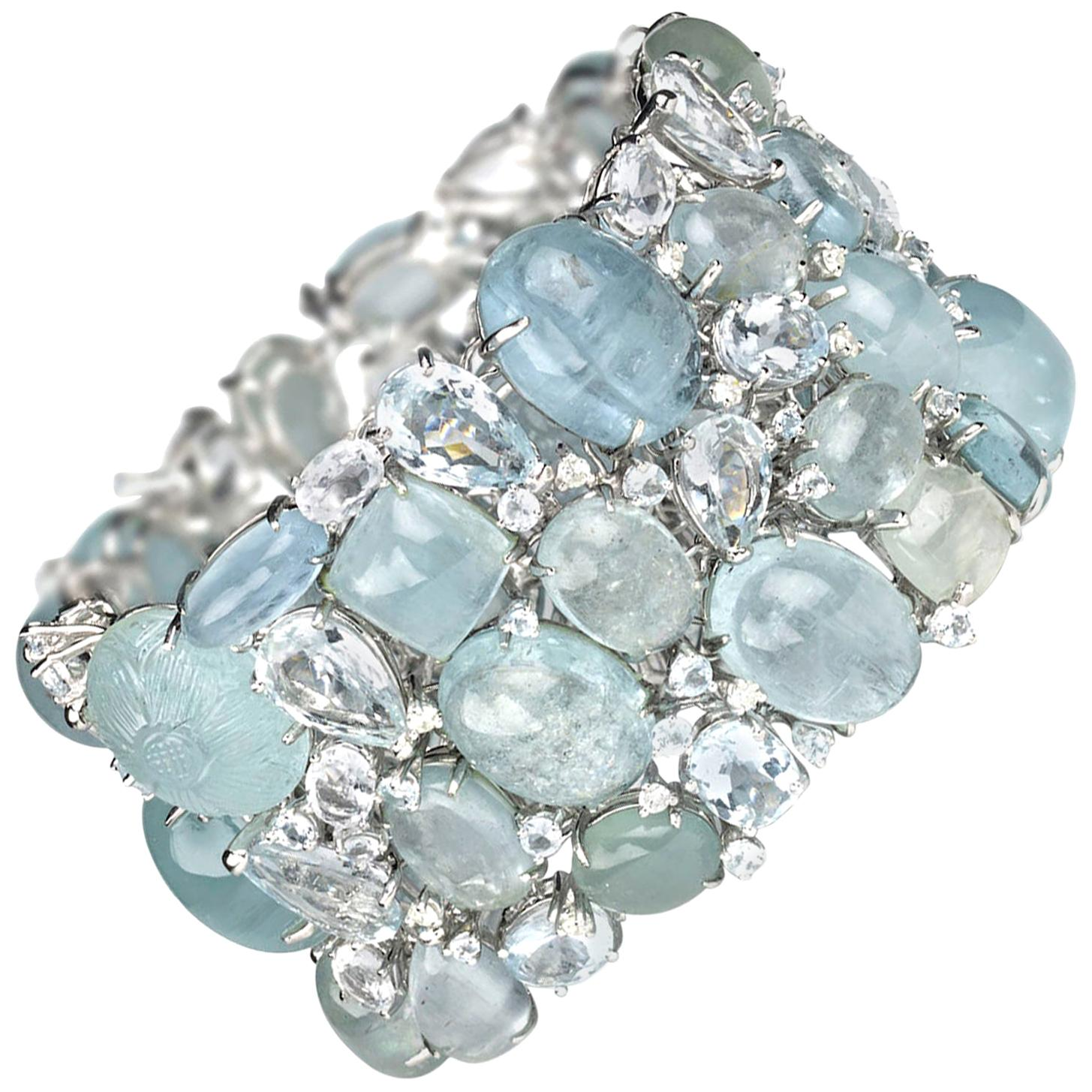 Multi Stone Aquamarine and Diamond Gold Bracelet