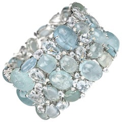 Multi Stone Aquamarine and Diamond Gold Bracelet