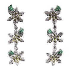 Multistone Diamond, Yellow Sapphire and Emerald Ear Clips