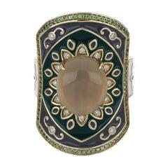 Multi Stone Enamel Ring with Diamonds in 14 Karat Yellow Gold