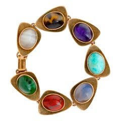 Multi-Stone Mid Century Gold Ladies Bracelet, 39.4 Grams