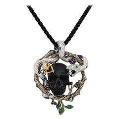 Multi Stone Pave Skull & Snake Pendant Necklace 18 Karat in Stock