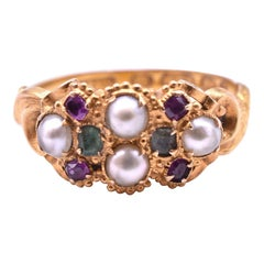 Multi-Stone Ruby Emerald and Pearl 15 Karat Suffragette Ring