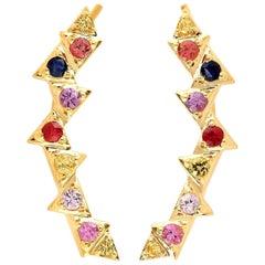 Multi Stone Sapphire 18 Karat Gold Ear Climbers